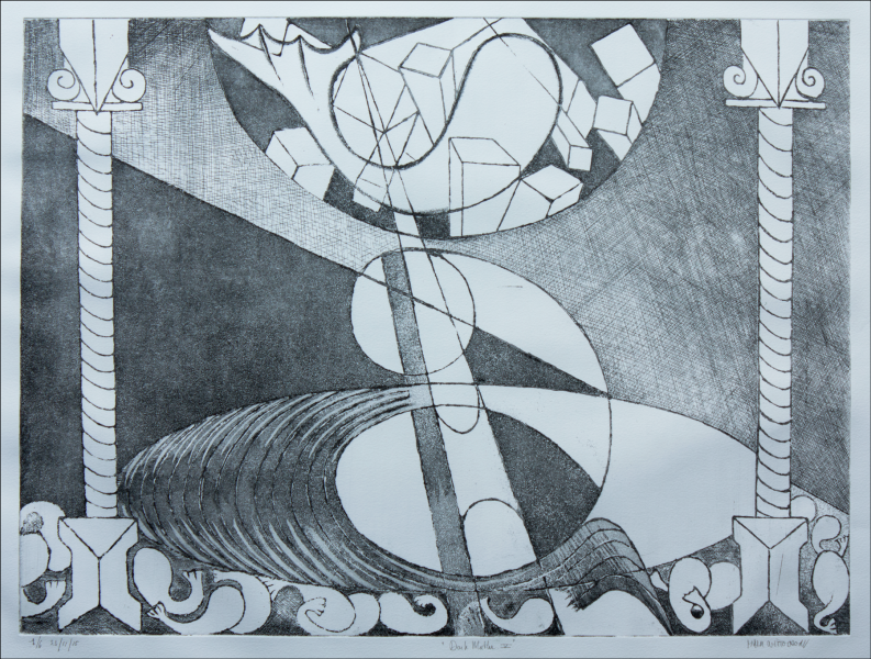 black and white etching / dimensions:  60 x 44 cm