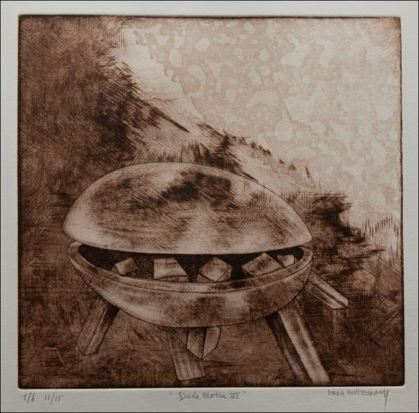 sepia etching / dimensions: 22,5 x 21,5 cm
