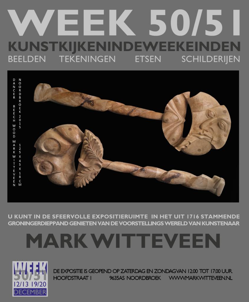 WEEK 50/51 verwijst naar de 2 weekeinden van 12/13 december en 19/20 december waarin de expositie is geopend.